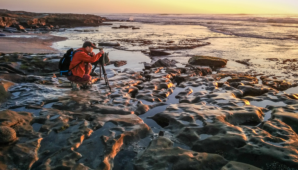 Stephen Bay photographing at Hospitals Reef in La Jolla
