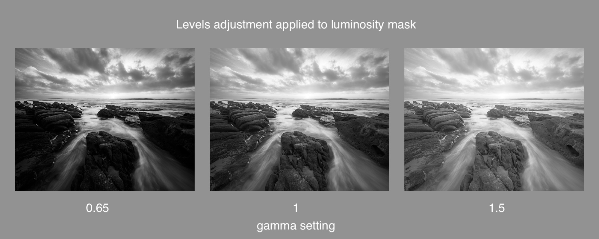 A lights luminosity mask with three different levels adjustments applied