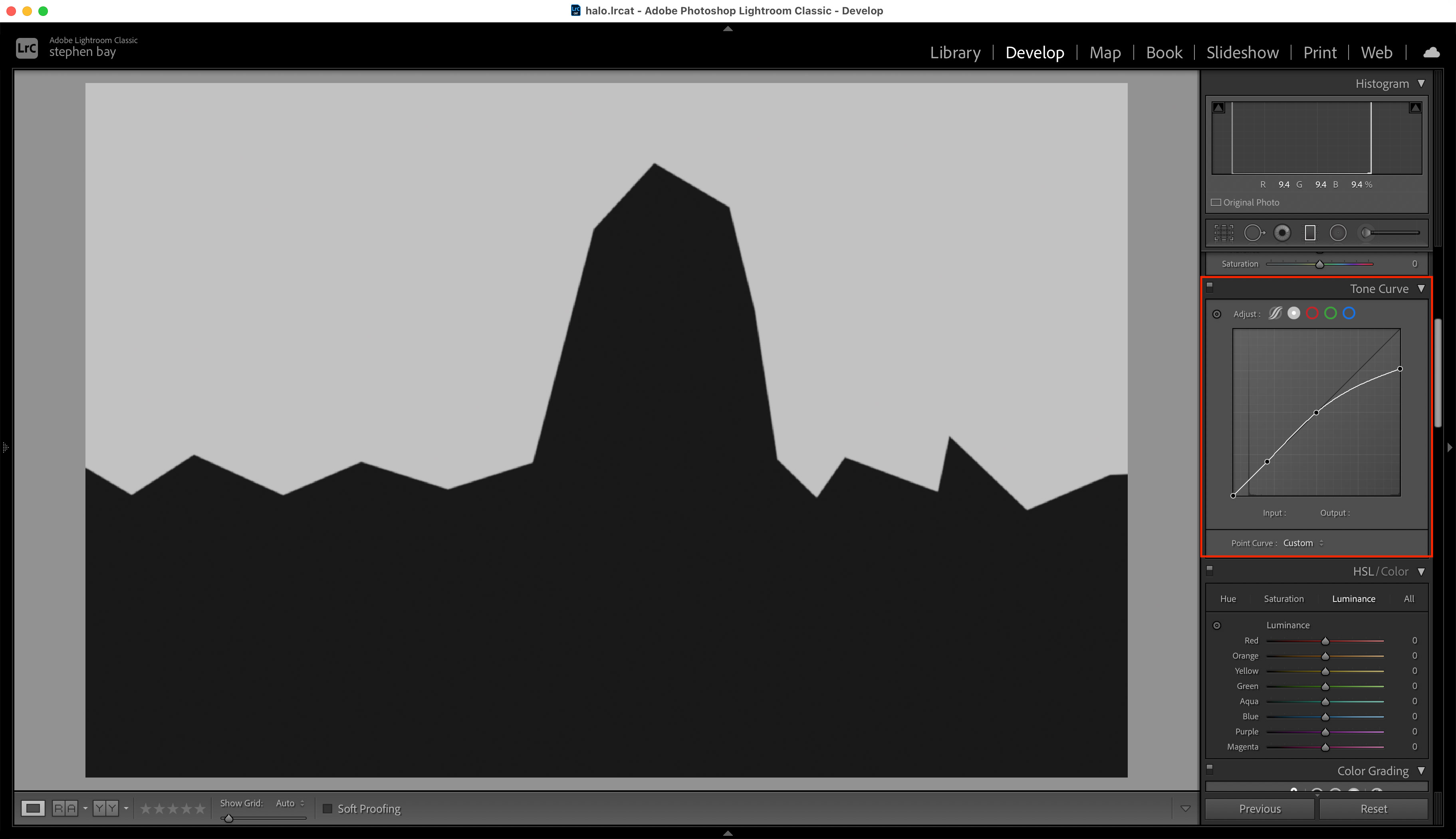 Screenshot of lightroom showing a local gradient adjustment with range mask.