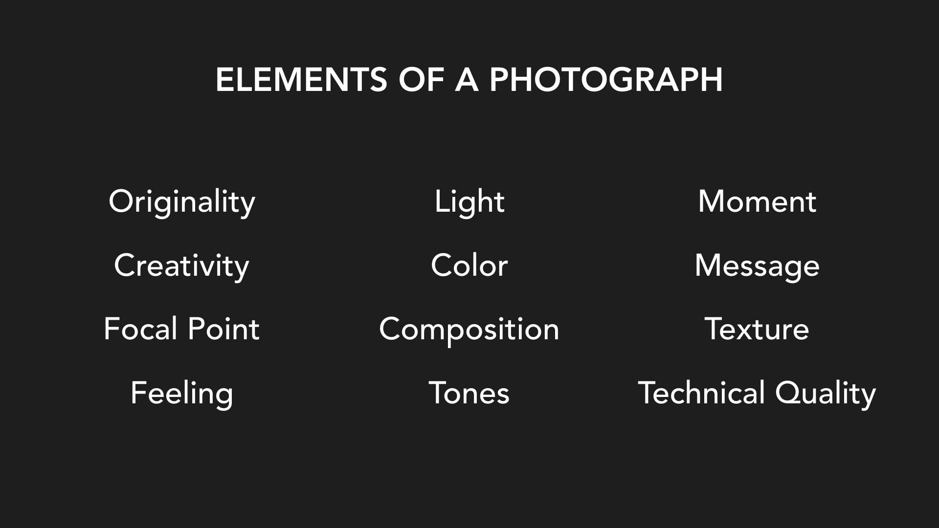 Elements of a Photograph