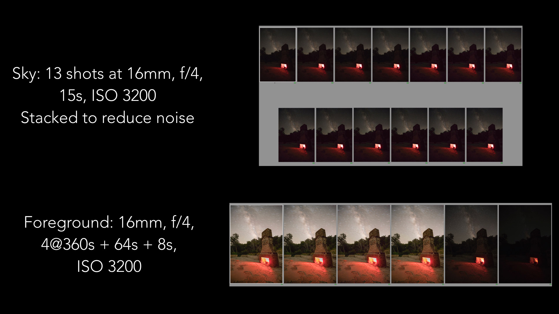 Stacking images to reduce noise