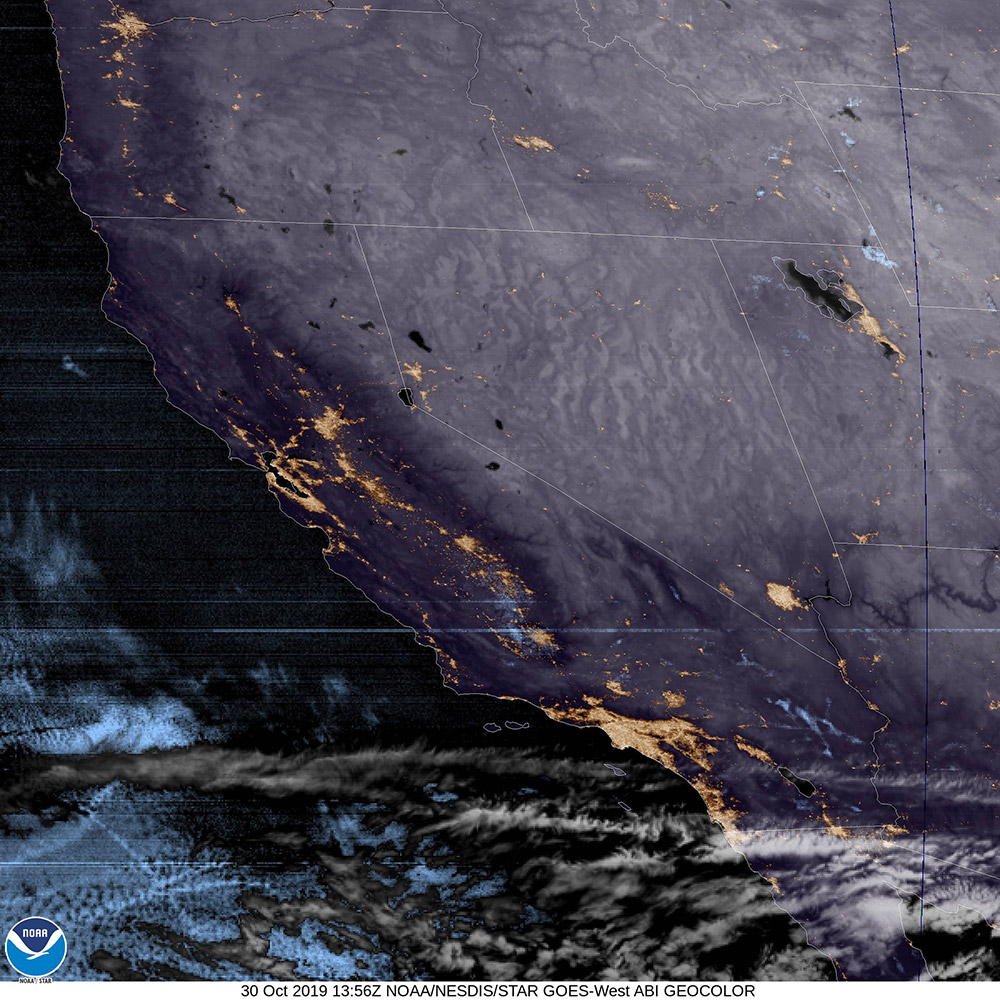 GOES Satellite Image of Cloud Cover