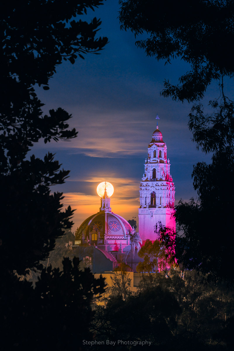 Full moon over Balboa Park