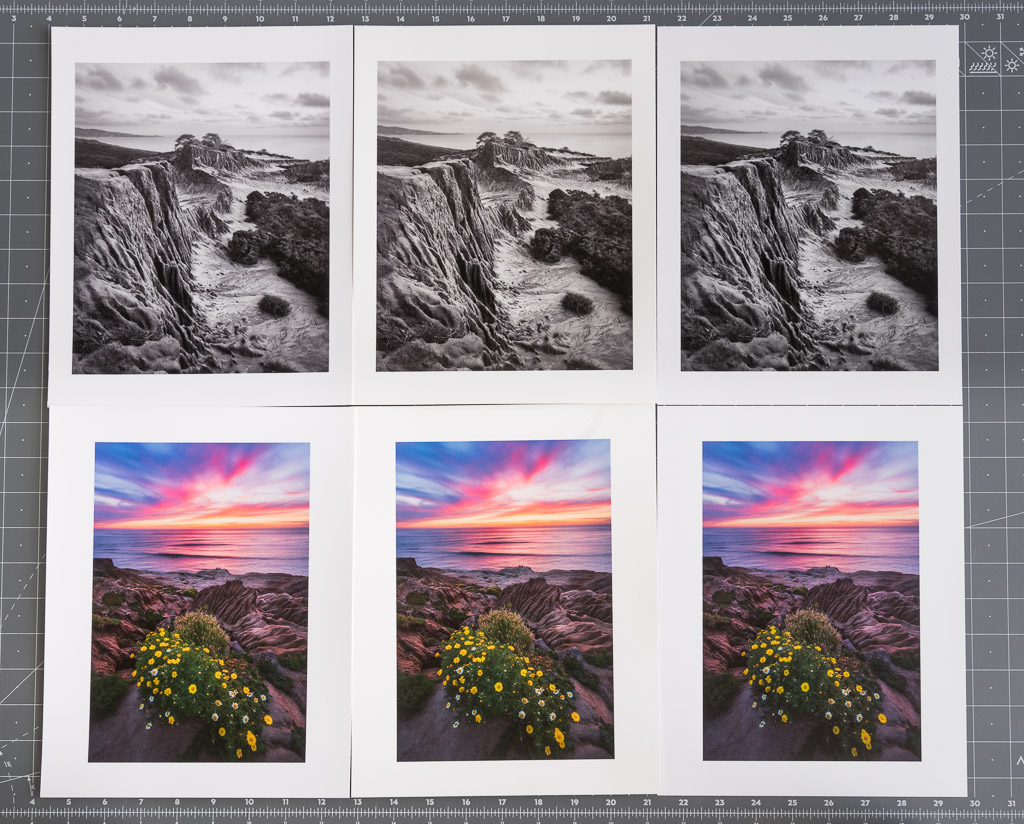 Comparison prints of Epson Exhibition Fiber, Canson Infinity Baryta, and Epson Premium Luster