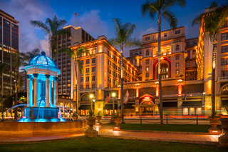 Broadway Fountain in Horton Plaza and Grant Hotel
