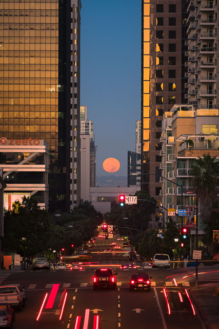 - Full Moon Setting over Downtown