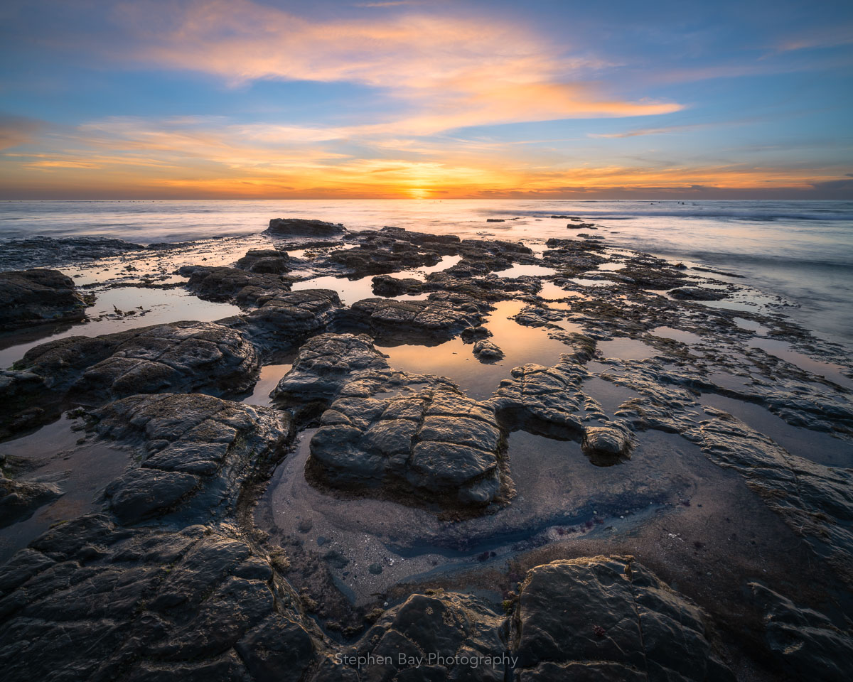 A fractured rock formation at Sunset Cliffs that looks like a puzzle.