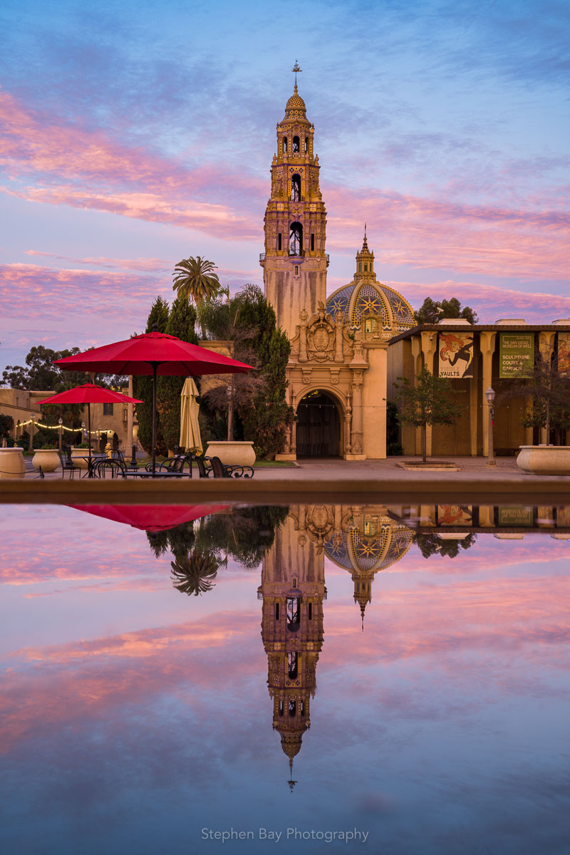 A photo of the California tower and dome in Balboa Park with a reflection in a pool of water.