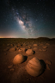 The Milky Way rising over the pumpkin patch in the Borrego Badlands