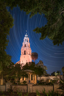 Star Trails and the California Tower, Balboa Park