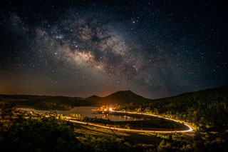 The Milky Way over Lake Cuyamaca and Stonewall Peak